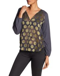 Lucky Brand - Metallic Peasant Top - Lyst