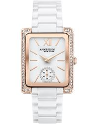 Anne Klein - Women's Rose Gold Swarvoski Crystal Watch, 28mm - Lyst