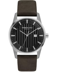 Kenneth Cole - Men's Leather Strap Watch, 42mm - Lyst