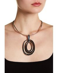 Argento Vivo - Hammered Open Oval Drop Pendent Open Necklace - Lyst