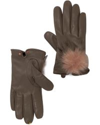 Ted Baker - Faux Fur Pompom Leather Glove - Lyst