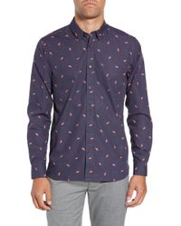 Ted Baker Charcro Extra Slim Fit Print Sport Shirt - Blue