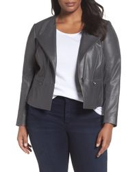 Sejour - Leather Collarless Jacket - Lyst