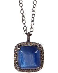 Adornia - Kyanite Diamond Halo Pendant Mini Zora Necklace - 0.50 Ctw - Lyst