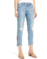 Tularosa - Hailey Embroidered Straight Leg Crop Jeans - Lyst