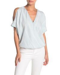 Love Stitch - Striped Cold Shoulder Chambray Blouse - Lyst