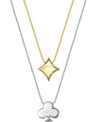 Alex Woo - 14k Yellow Gold & Sterling Silver Little Vegas Diamond & Clover Pendant Necklace - Set Of 2 - Lyst