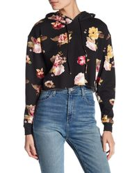 Love, Fire - Floral Print Cropped Hoodie - Lyst