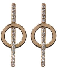 Lana Jewelry - 14k Yellow Gold Pave Diamond Circle & Bar Stud Earrings - 0.26 Ctw - Lyst