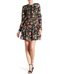 Alexia Admor | Long Sleeve Lace Knit Trim Floral Print Dress | Lyst