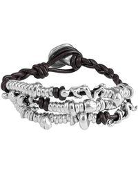 Uno De 50 - Akeela Beaded Cluster Leather Bracelet - Lyst