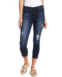 Kensie - Distressed Skinny Cropped Jeans - Lyst