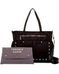 MILLY - Leather Grommet Diaper Bag - Lyst