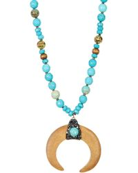 Panacea - Turquoise Beaded Wood Horn Pendant Necklace - Lyst