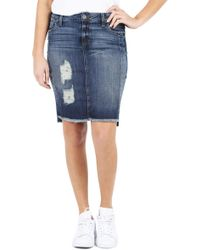 Kut From The Kloth - Ripped High/low Denim Skirt - Lyst