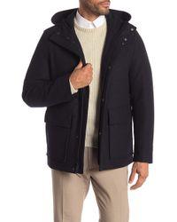 Cole Haan - Melton Faux Fur Lined Hooded Coat - Lyst