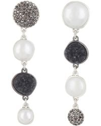 Lucky Brand - Asymmetrical Pave Faux Pearl Drop Earrings - Lyst