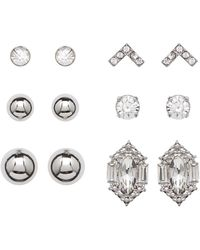Joe Fresh | High Polish Ball & Crystal Stud Earrings Set - Set Of 6 | Lyst