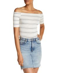Michelle By Comune | Off-the-shoulder Ribbed Crop Top | Lyst