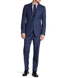 Ted Baker - Blue Sharkskin Two Button Notch Lapel Wool Suit - Lyst