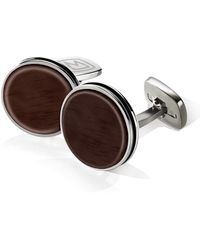 M-clip - Wood Enamel Bordered Round Cufflinks - Lyst