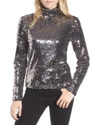 Trouvé - Sequin Mock Neck Top - Lyst