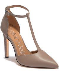 Calvin Klein - Brandy T-strap Leather Lizard Embossed Stiletto - Lyst