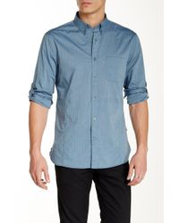 John Varvatos - Pinstripe Long Sleeve Roll Up Trim Fit Shirt - Lyst
