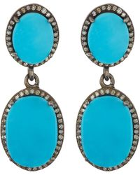 Adornia - Diamond Halo Turquoise Double Drop Earrings - Lyst