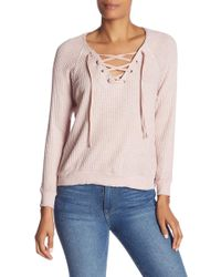 Velvet By Graham & Spencer - Thermal Knit Lace-up Top - Lyst