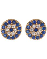 Argento Vivo - 18k Gold Plated Sterling Silver Cz Accented Evil Eye Stud Earrings - Lyst