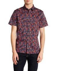 Perry Ellis - Slim Fit Short Sleeve Splatter Print Shirt - Lyst