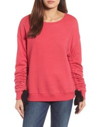 Halogen - (r) Ruched Tie Sleeve Sweatshirt (regular & Petite) - Lyst
