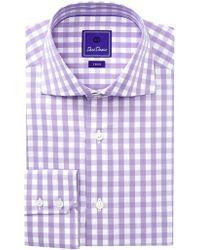 David Donahue - Gingham Trim Fit Dress Shirt - Lyst