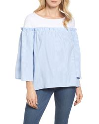 Halogen - Ruffle Detail Mix Media High/low Shirt (regular & Petite) - Lyst