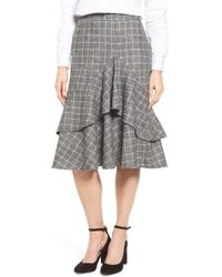 Halogen - Windowpane Print Ruffle Skirt - Lyst