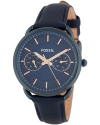 Fossil - Women's Tailor Multifunction Leather Strap Watch, 35mm - Lyst
