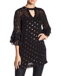 Bobeau - 3/4 Tired Sleeve Foil Dot Dress - Lyst