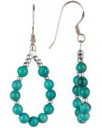 Peyote Bird - Sterling Silver Turquoise Beaded Teardrop Earrings - Lyst