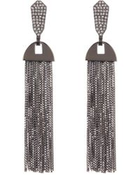 Vince Camuto - Cz Pave Tassel Earrings - Lyst