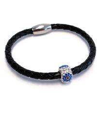 Liza Schwartz Single Evil Eye Premium Black Leather Bracelet