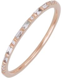 Bony Levy 18k Rose Gold Round & Baguette Cut Diamond Band Stacking Ring - 0.11 Ctw