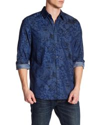 Indigo Star - Floral Print Button Down Woven Tailored Fit Shirt - Lyst
