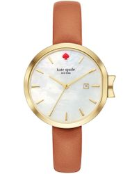Kate Spade - Park Row Leather Strap Watch, 34mm - Lyst