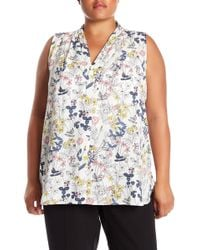 Vince Camuto - Botanical Floral Printed Blouse (plus Size) - Lyst