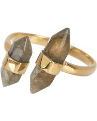 Argento Vivo - 18k Gold Plated Sterling Silver Stone Open Ring - Size 7 - Lyst
