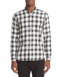 The Kooples - Trim Fit Check Shirt With Detachable Leather Collar - Lyst