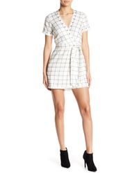 Lucy Paris - Giana Windowpane Wrap Romper - Lyst