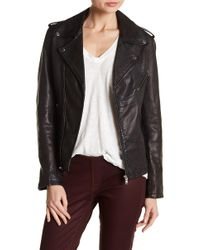 Lamarque - Washed Lambskin Leather Moto Jacket - Lyst