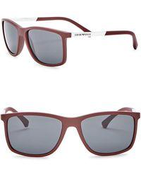 Emporio Armani - 58mm Rectangle Acetate Frame Sunglasses - Lyst